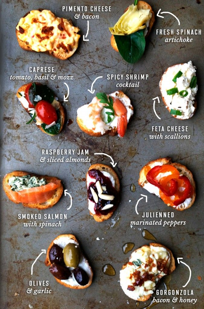 Two-bite Crostini recipes for party snacks or appetizers | @andwhatelse