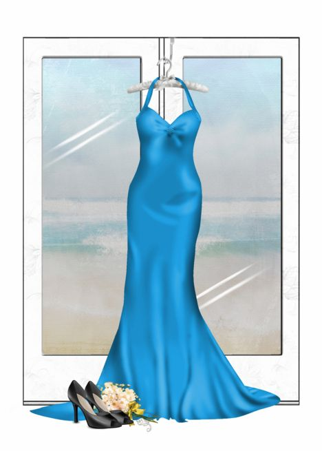 Matron of Honor request-turquoise gown with shoes and bridal bouquet card