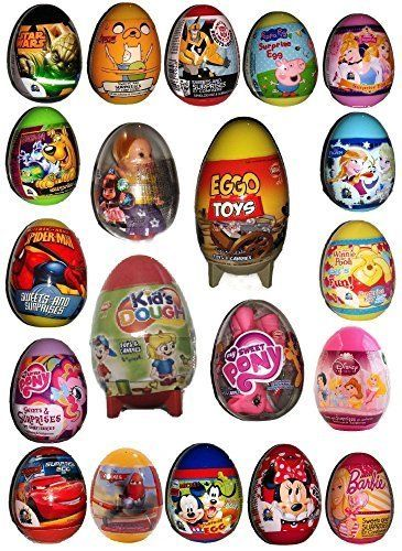 Surprise Eggs x 20 all different including Frozen, Spiderman, Play Dough Egg, Lolly the Dolly, Scooby Doo, Rocket Eggo, Minnie Mouse ,Peppa Pig, Big pony, Disney Princesses and many more by Assorted Surprise Eggs [並行輸入品]