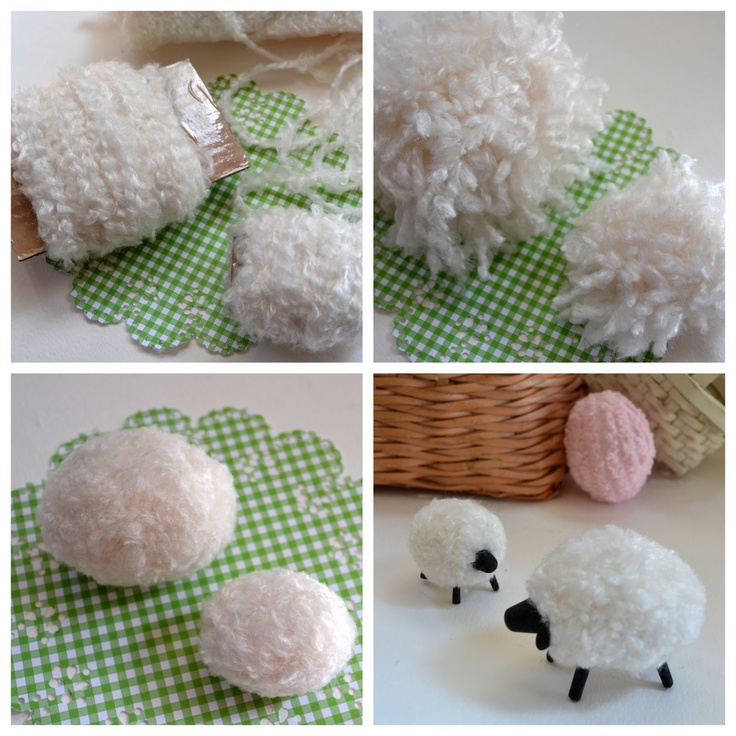 Easter Craft: How to Make a Pompom Sheep Uses chunky yarn and polymer clay. Fun, easy, quick, and inexpensive. Make a whole flock!