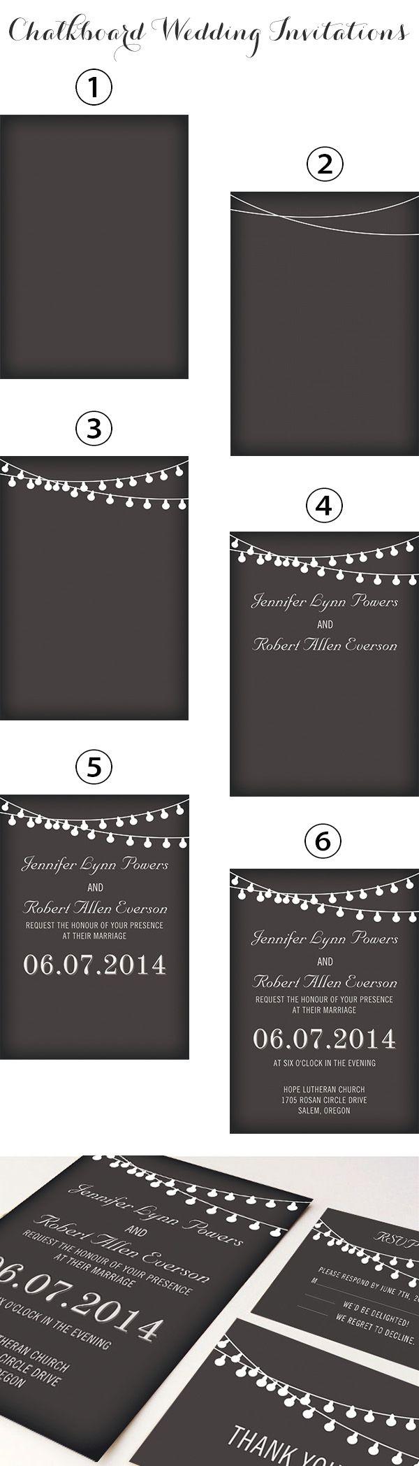 rustic themed chalkboard wedding invitations with string lights inspired by backyard wedding ideas