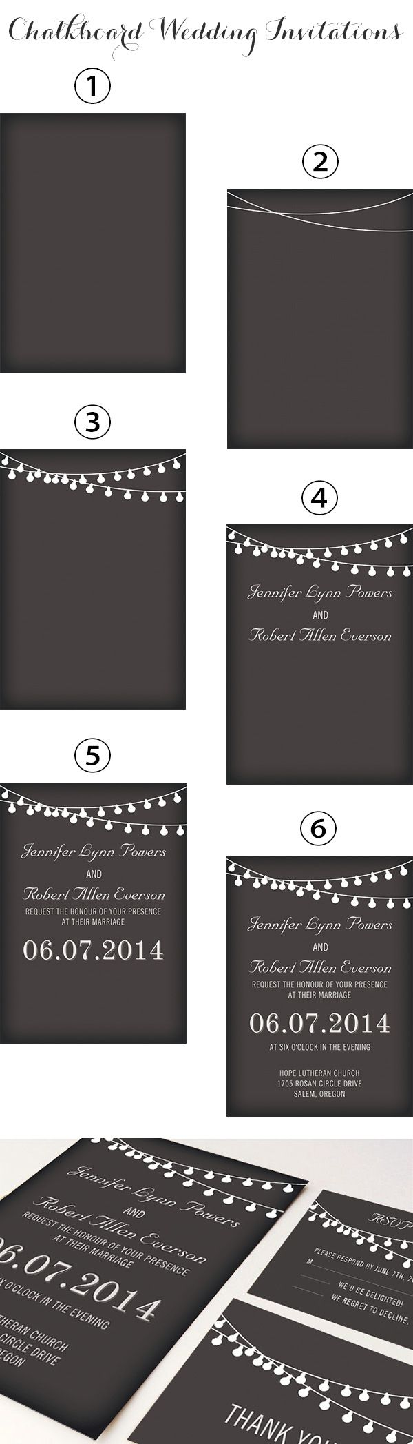 rustic themed chalkboard wedding invitations with string lights inspired by backyard wedding ideas