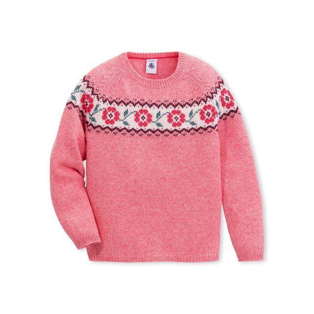 Pull jacquard fille en tricot de laine et coton PETIT BATEAU : prix, avis & notation, livraison.  Confectionné en grosse jauge à motif jacquard ce pull fille allie la chaleur de la laine et la douceur du coton. Il revisite de façon féminine le pull de ski avec un motif différent pour chaque coloris de vêtement. Un pull au look trendy que l'on associera à une jupe ou un pantalon uni pour une silhouette mode.- col rond- manches longues- jacquard