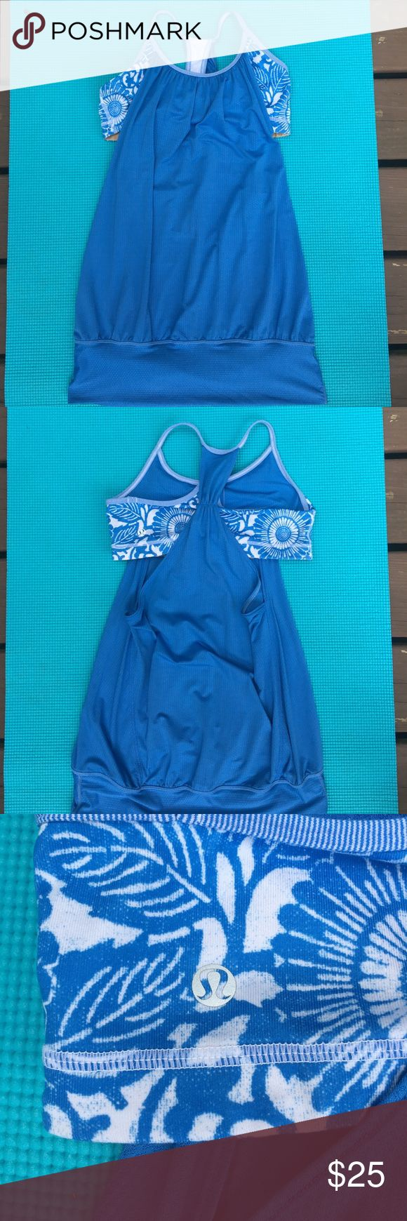Lululemon no limits tank top in fossil blue print LOVE this top but I have too many clothes right now so it has to move! Built in sports bra is breezy and awesome for summer outdoor workouts or hot yoga lululemon athletica Tops Tank Tops