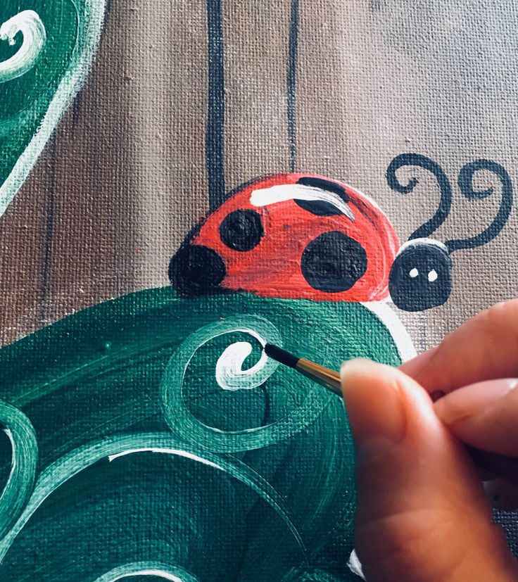 How To Paint A Shamrock with a Ladybug. Beginning acrylic painters will learn how to paint a dark wood background, shamrock and a ladybug on the leaf.