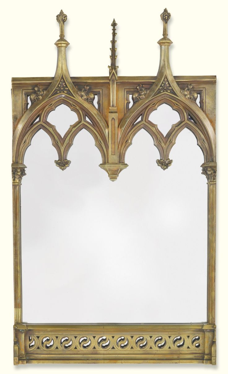 A victorian gothic revival brass frame now mounted as a for Casa revival gotica