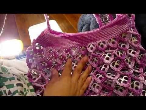 3º parte Como hacer una bolsa con anillas de lata: Bolsa de Corazones
