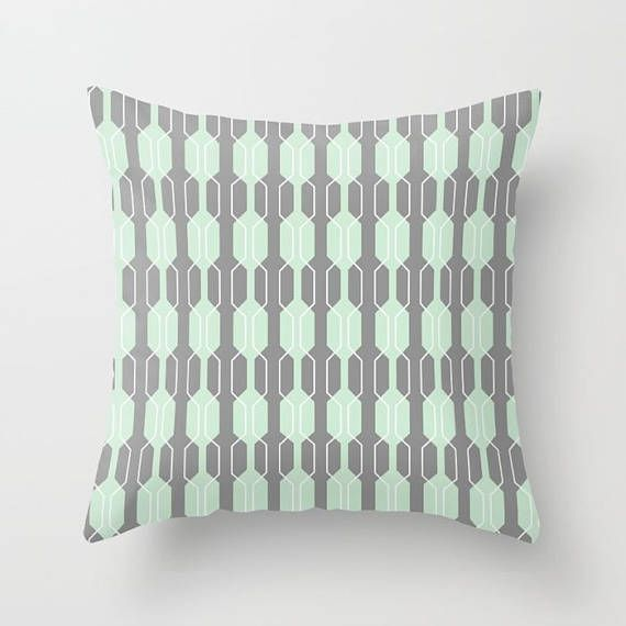Mint Cushion Grey Pillow Geometric cushion Geometric throw