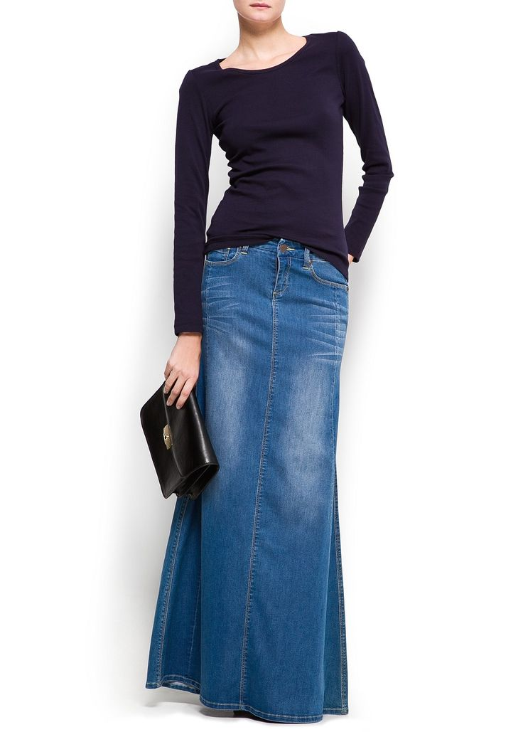 Love, Love, Love this skirt!!! I own this floor length skirt and it's simply divine! :-)  http://shop.mango.com/AE/p0/mango/new/strass-denim-long-skirt/?id=83304028_TM=1=nuevo=0==1370181668702
