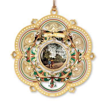 The 2005 keepsake White House ornament honors the 20th President of the United States James A. Garfield. His term of office, which began in March 1881, ended tragically in September of the same year when he died more than two months after being shot twice by an assassin. The design of the ...