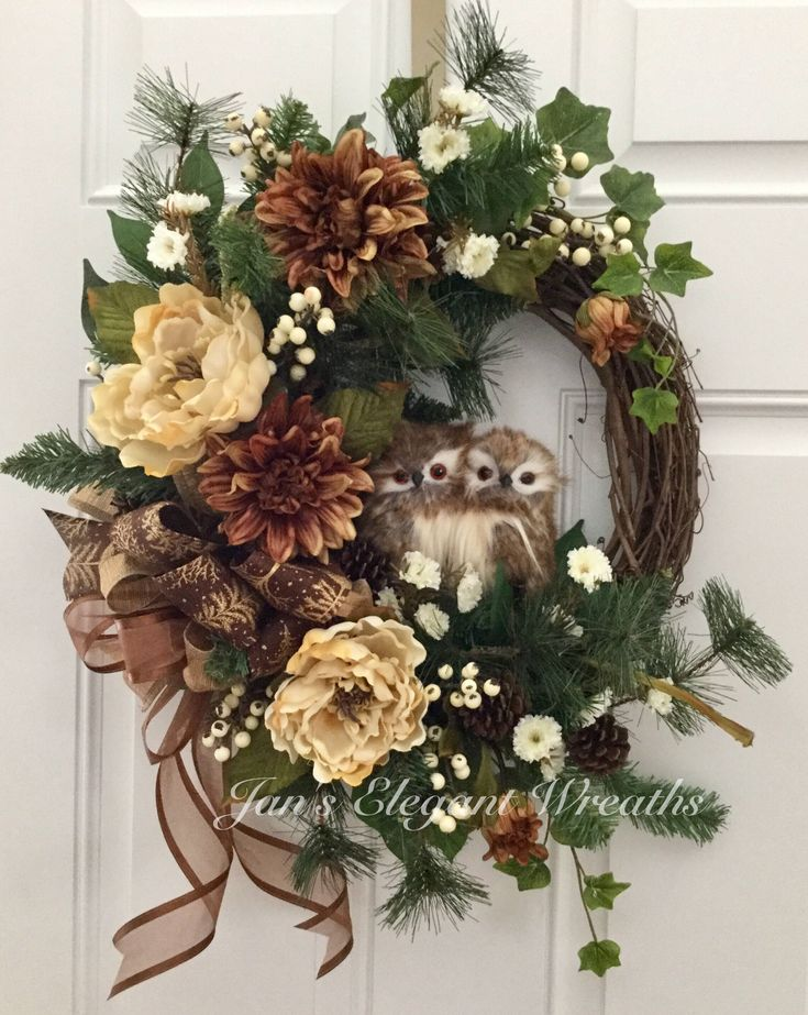 Winter Wreath Owl Wreath Wreath with Birds