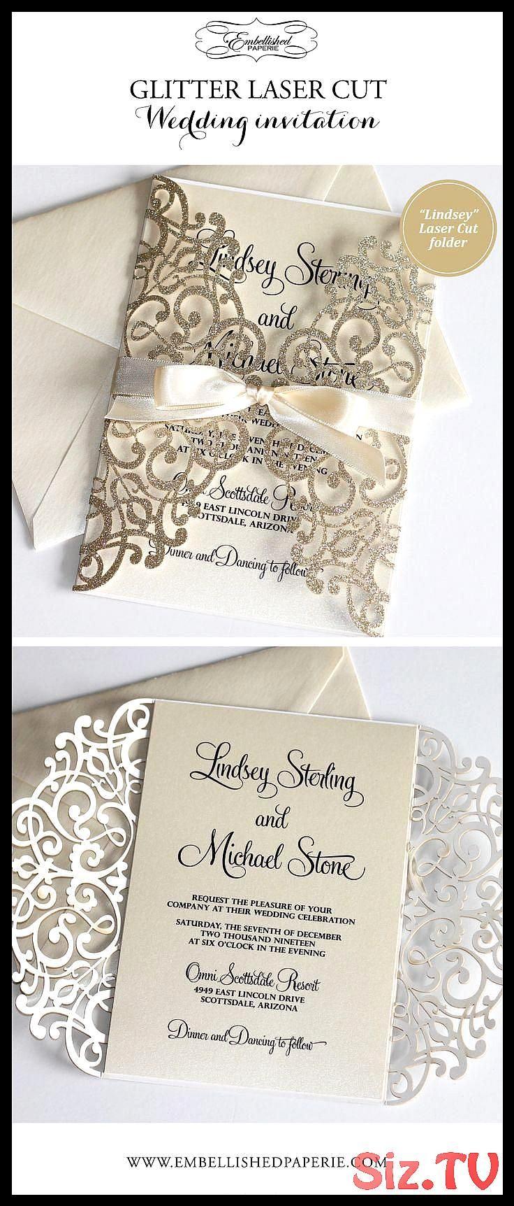 Elegante Glitter Hochzeitseinladungen Elfenbein Metallic Und