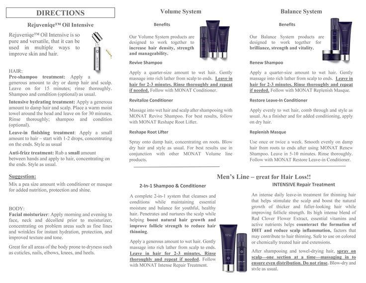 Monat haircare instructions.