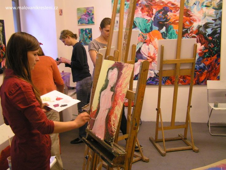 Painting in art studio in the centre of Prague