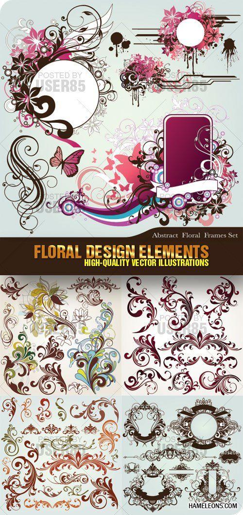 Цветочный векторный дизайн - рамки и завитки   Flower vector Design