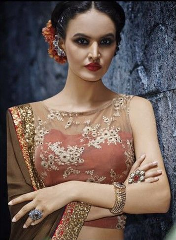 188605 Beige and Brown  color family Embroidered Sarees, Party Wear Sarees in Net, Satin fabric with Lace, Machine Embroidery, Sequence work   with matching unstitched blouse.