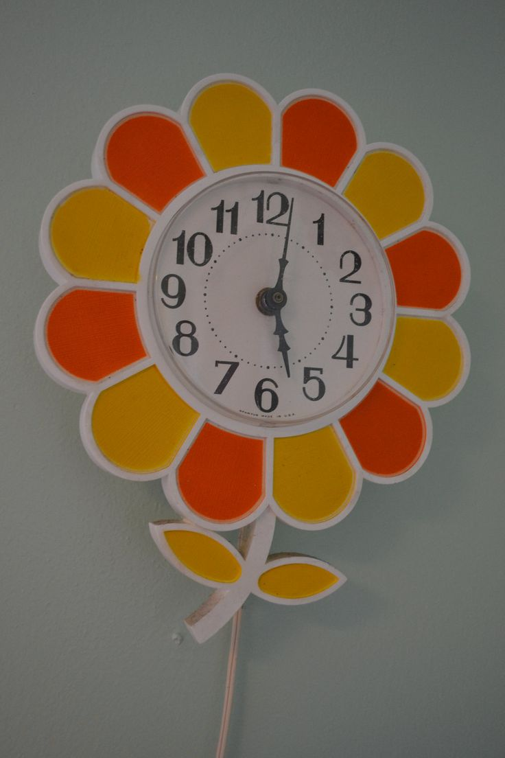 117 best retro clocks images on pinterest antique clocks vintage retro spartus orange and yellow flower kitchen wall clock 2900 via etsy amipublicfo Images