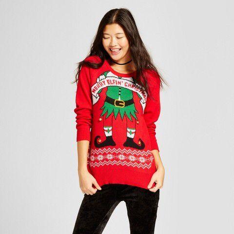 Well Worn Womens Elfin Long Sleeve Ugly Christmas Sweater Well