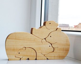 Mother's day Kids gift Wood bear Wooden Puzzle by LadyEvaDESIGN