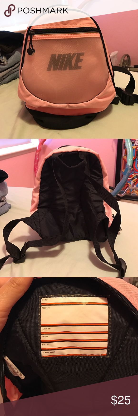 Pink Mini Nike Mesh Backpack Mini pink Nike backpack. Mesh net front pocket. Excellent condition. Hardly used. Nike Bags Backpacks