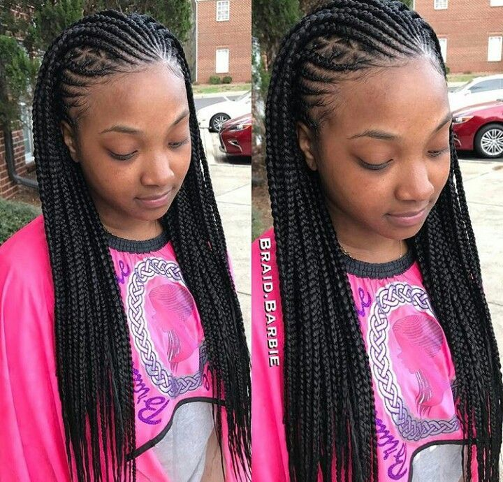 Cute braids. Cornrow hairstyle. Protective style. Box braids. Feed-in braids.