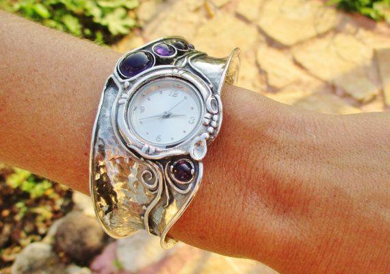 da8f7604a Silver Watches,Watch Cuff Bracelet,Sterling Silver Amethyst Women ...