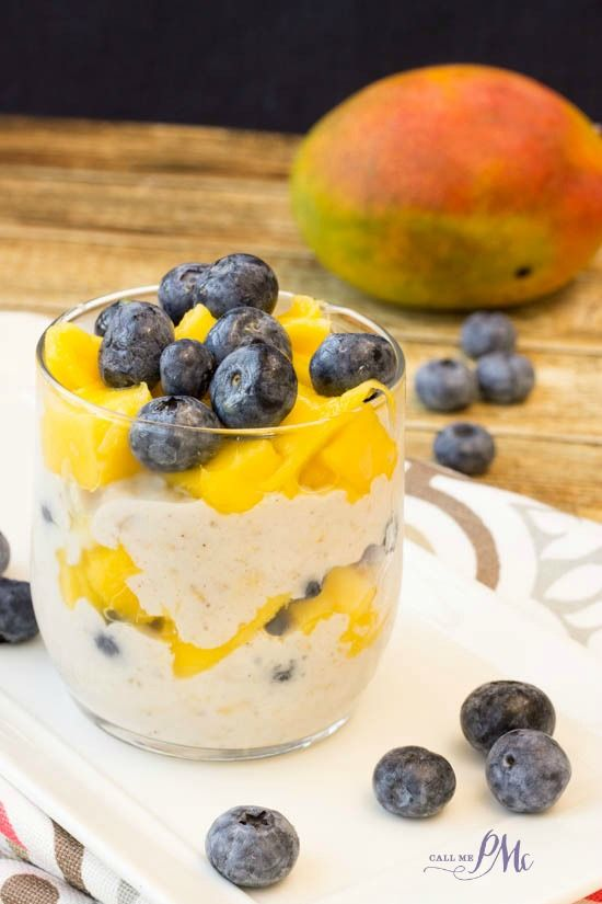 Blueberry Mango Overnight Oats Parfait is prepped the night before and 'cooked' in the fridge. This easy and convenient breakfast is healthy, nutritious and full of flavor! #SpoonfulOfSilk @LoveMySilk