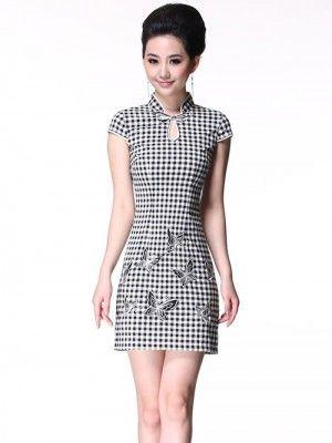 Plaid Short Cheongsam / Qipao / Chinese Summer Dress