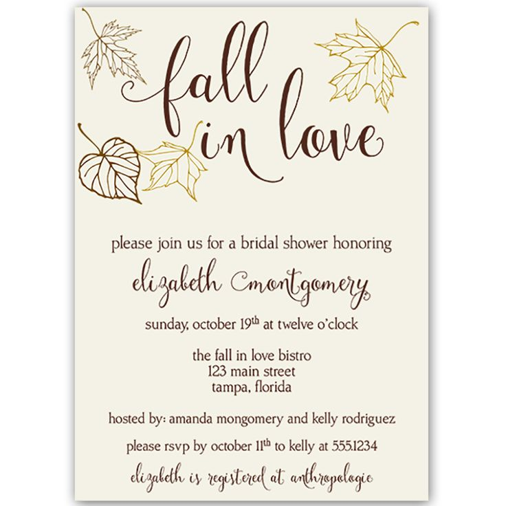 Invite guests to your fall bridal shower with this autumn inspired invitation featuring lovely leaves in ivory, chocolate brown and cream.