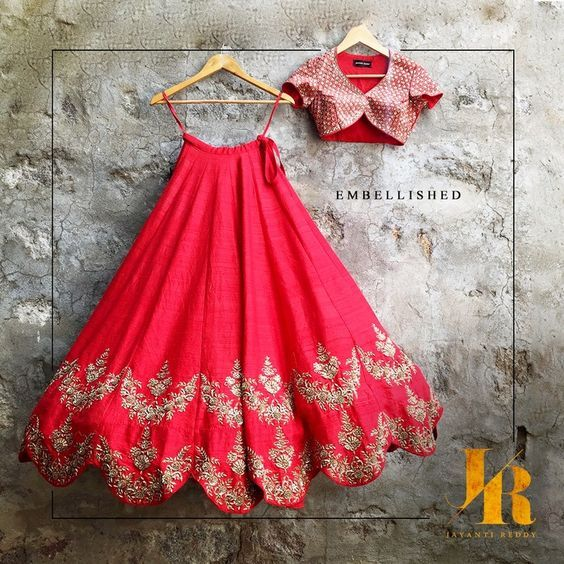 Trend alert! Scalloped lehenga! Love this pretty twist on the traditional :) #IndianWedding #lehenga #outfits | curated by Witty Vows - The ultimate guide for the Indian Bride | www.wittyvows.com