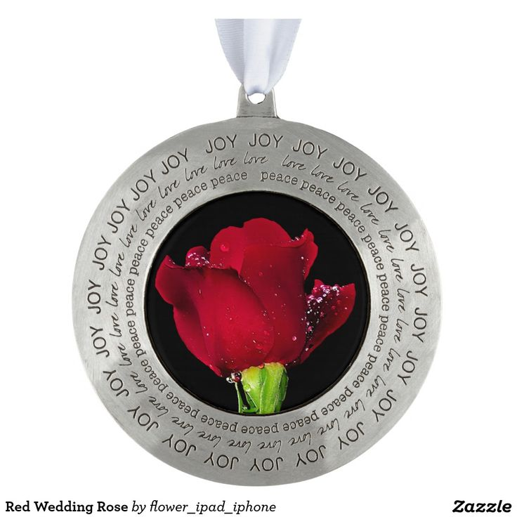 Red Wedding Rose Round Pewter Christmas Ornament