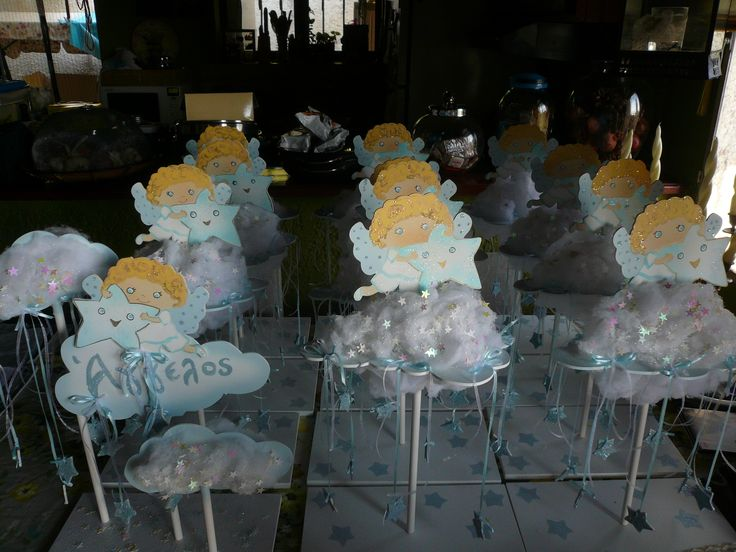 Hand Made Baptism Angel Party Theme Baby Boy Party