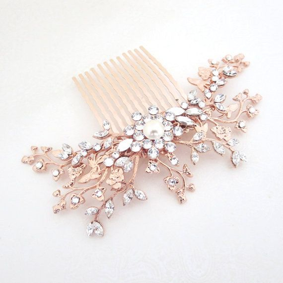Hey, I found this really awesome Etsy listing at https://www.etsy.com/listing/225343638/rose-gold-bridal-hair-comb-crystal