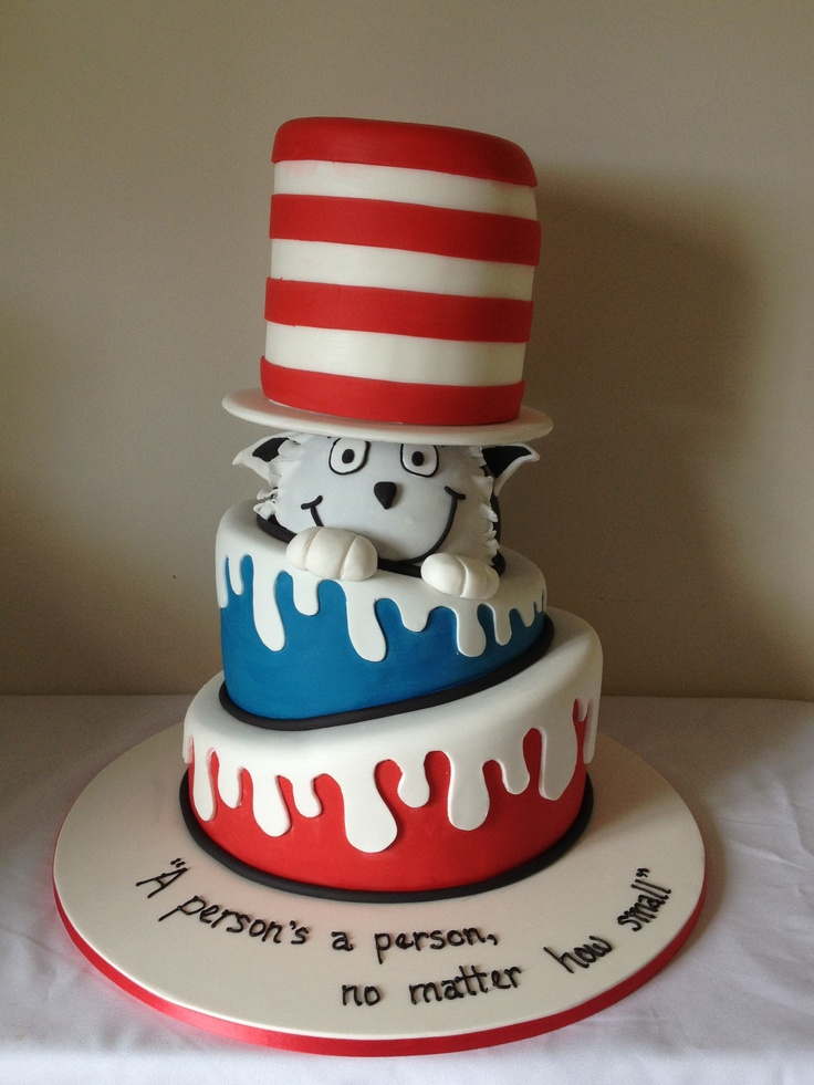 Cat in the hat baby shower cake: Baby Olivier, Cat, Baby Shower Cakes ...