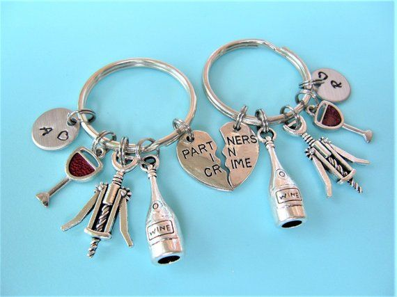 Partners In Crime Keychain Best Friend Gift Wine Bottle Keychain