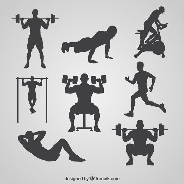 Gym silhouettes collection Free Vector