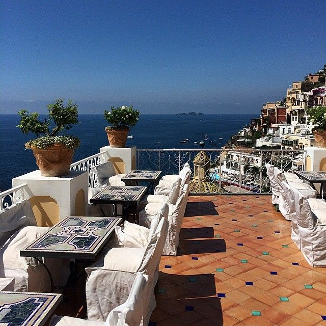 A perfectly blue day in Positano, as seen from the Champagne and Oyster Bar terrace at Le Sirenuse.