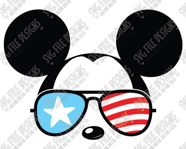 Cool Mickey Mouse American Flag Sunglasses Cut File Set in SVG, EPS, DXF, JPEG, and PNG