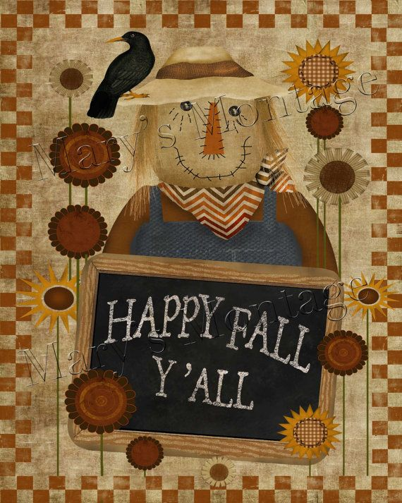 Scarecrow Happy Fall Y'all 8x10 digital Printable by MarysMontage