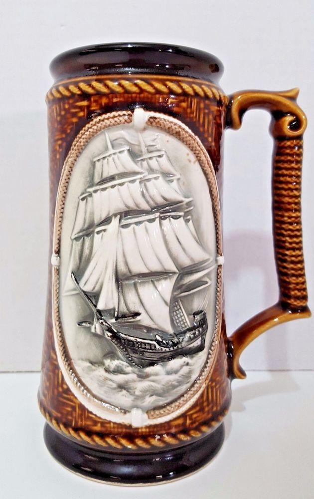 Mug 3D Sailing Ship Anchor Brown Gray White 24 Ounces Nautical Handmade  #Handmade