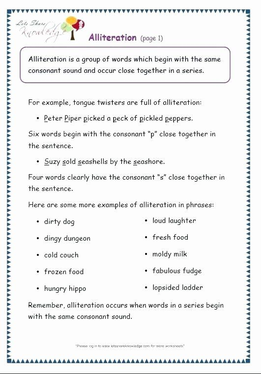 Kindergarten Alliteration Worksheets