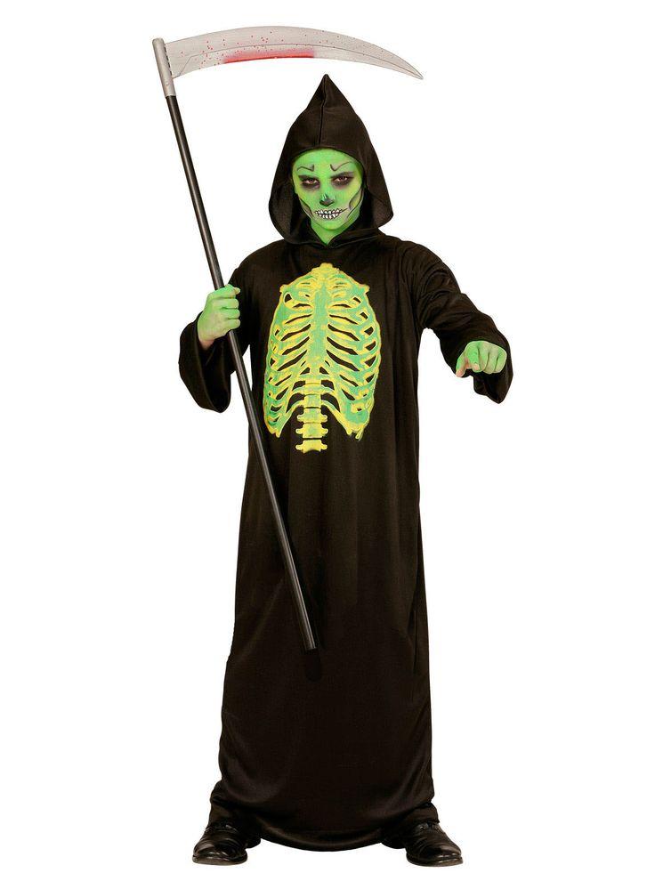 Déguisement squelette éventré enfant Halloween : Ce déguisement est sous la forme d'une robe à capuche (chaussures non incluses).Entièrement noire, la robe est plutôt longue, avec des manches longues...