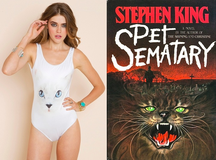 """The book: Pet Semetary by Steven King  The first sentence: """"Louis Creed, who had lost his father at three and who had never known a grandfather, never expected to find a father as he entered middle age, but that is exactly what happened.""""  The bathing suit: Wildfox Couture Cat Swimsuit."""