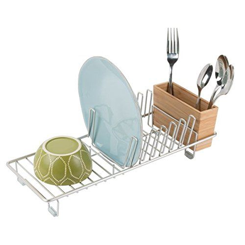 mDesign Compact Kitchen Dish Drainer Rack for Drying Glasses, Silverware, Bowls, Plates - Satin/Natural