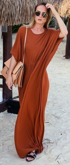 Camel Maxi Dress                                                                             Source