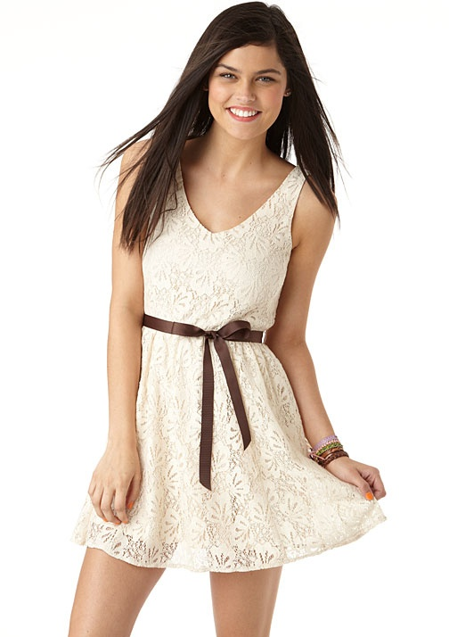 dELiAs > Lace Belted Dress > dresses > casual, why couldn't I have found this dress 8 years ago when I wanted a white rehearsal dinner dress