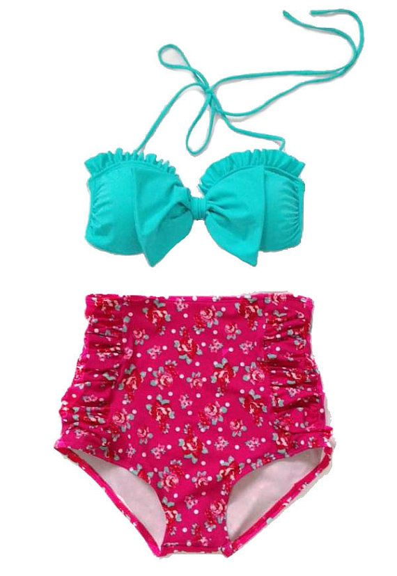 Mint Bow Top and Pink Flora High Waisted Waist Shorts Bottom Swimsuit Swimwear Bikini Bathing suit Woman Womens Lady Adult Female Girl S M