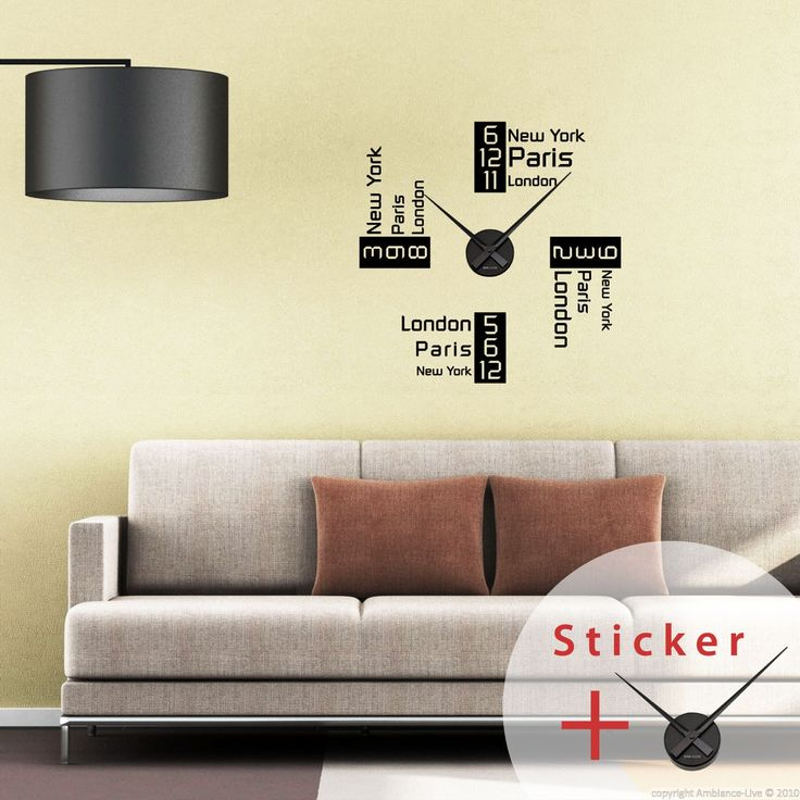 Sticker horloge L'heure à New York, Paris et Londres - sticker STICKERS ORIGINAUX Stickers Horloges - Ambiance-sticker