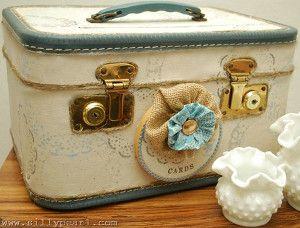 Vintage Suitcase Card Box | AllFreeDIYWeddings.com