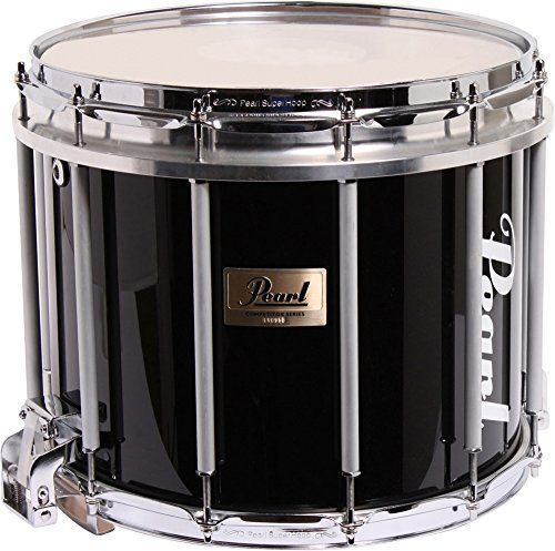 Pearl Competitor High-Tension Marching Snare Drum Midnight Black 14 x 12 in. High Tension:   Excellent sounding marching snare drum for a great price! The 8-ply mahogany shell is rich in upper harmonics and warm lows. The Pearl Competitor Marching Snare Drum has an 8-ply mahogany shell rich in upper harmonics for enhanced presence. 2.3mm steel hoops are lightweight with great strength and durability. High-tension FFX aluminum alloy edge ring allows super-high-pitched Kevlar heads to be...